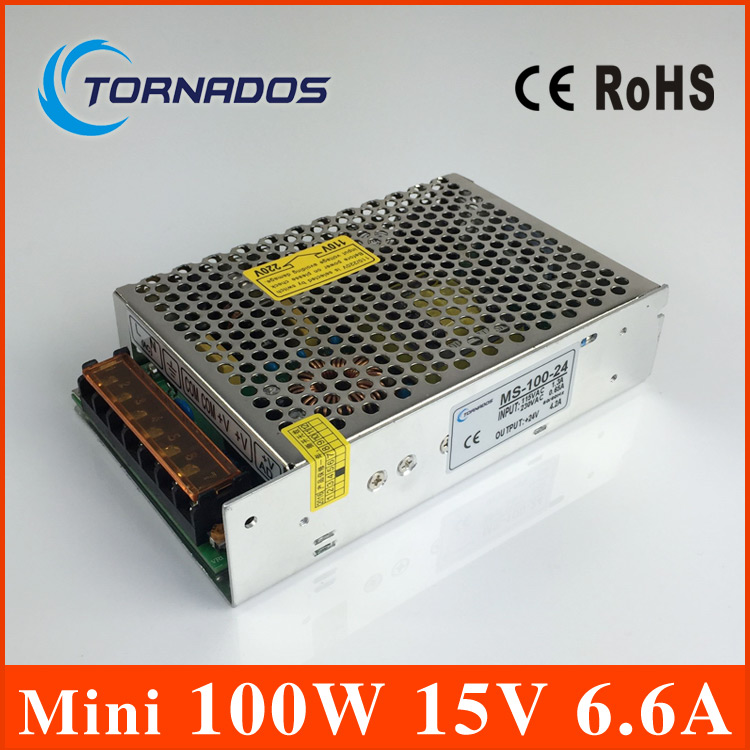 Mini-size 100W 15V 6.6A Switch Mode LED Light Devices Switching Power Supply AC-DC MS-100-15 mini size 50w 36v 1 4a switch mode led light devices switching power supply ac dc psu 100 110 220 230v ms 50 36