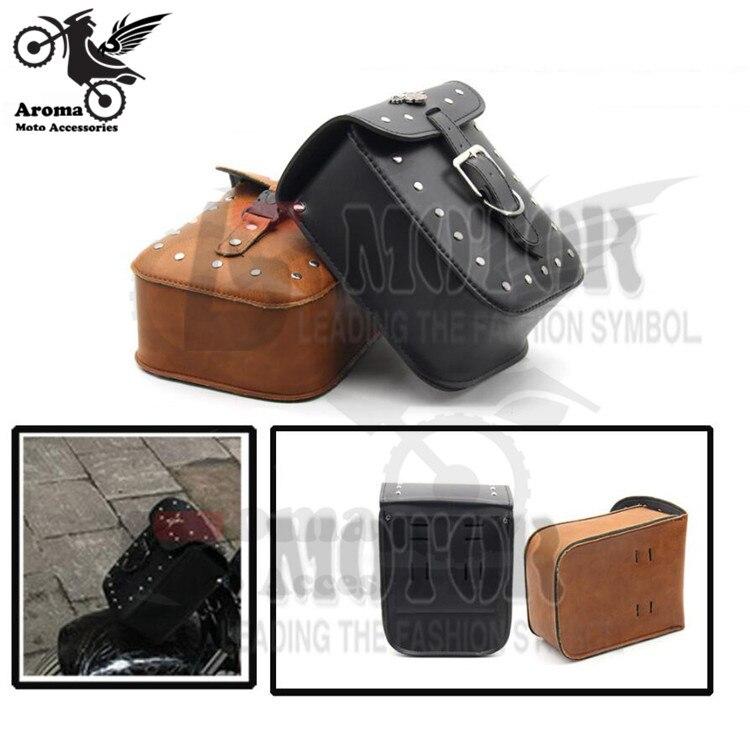 1 PCS black brown PU saddlebag Leather motorcycle Saddle Bags motorbike side luggage for Harley Davidson cruise rivet moto bag