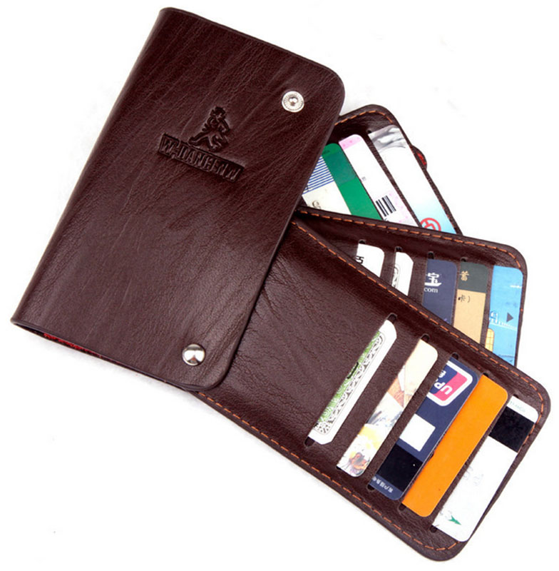 Cowhide Leather Men's Business Card Holder Small Wallets Unisex Slim ID Credit Card Holder Rotatable Wallet For Men Women unisex slim id credit card holder pu leather business name credit id card holder pocket case rotatable wallet for men women