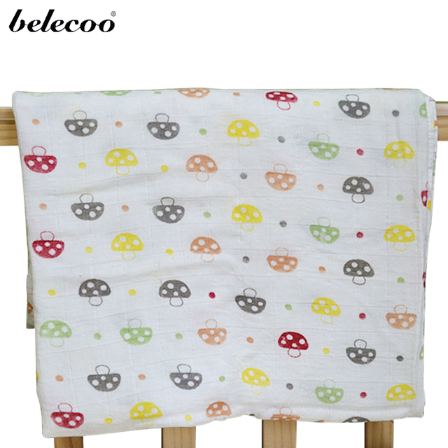 Belecoo 100% Bamboo Fiber Healty Baby Blanket 120*120cm Thicken Double Layer for Newborns Baby Bedding Blanket