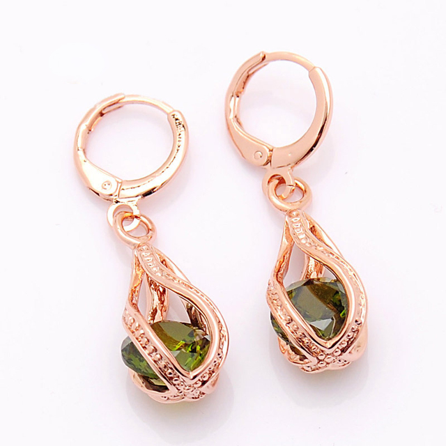 Elegant Pink CZ Crystal Earrings Rose Gold Color Hollow Out Drop Earrings for Women Wedding Party Costume Jewelry brincos Gift 4