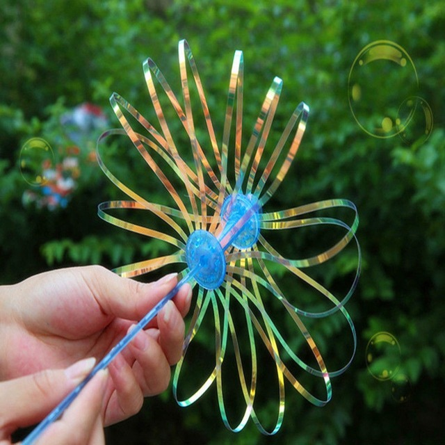 Hot 1Pcs Colorful Shook Stick Blowing Bubble Play Funny Popular Soap Bubble Outdoor Activety Wands Toy Amused Children Kid Baby