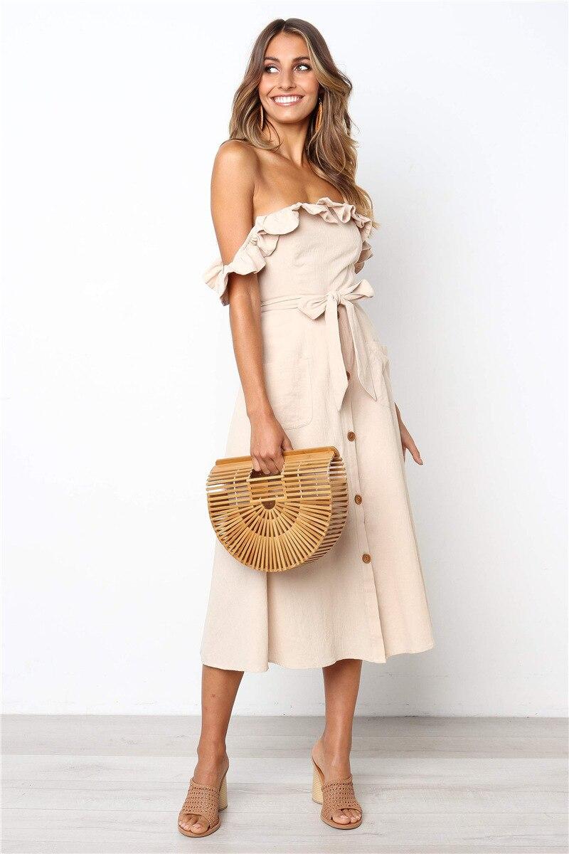 Backless Sexy Women Summer Dress 19 Ruffles Off Shoulder Beach Dress Buttons Strapless Long Sundress Boho Midi Dress Ladies 35