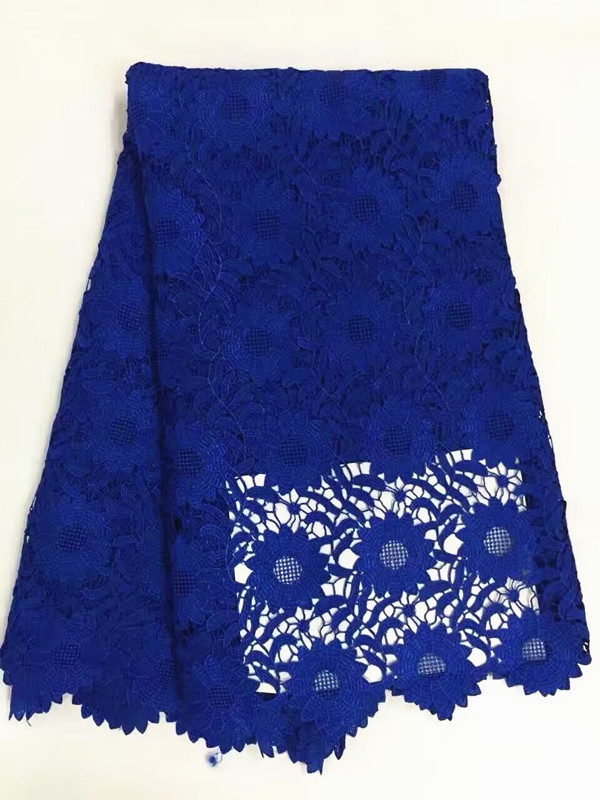 5 Y/pc Top sale royal blue flower design mesh cord lace african guipure lace fabric french water soluble lace for clothes RW1-15 Y/pc Top sale royal blue flower design mesh cord lace african guipure lace fabric french water soluble lace for clothes RW1-1