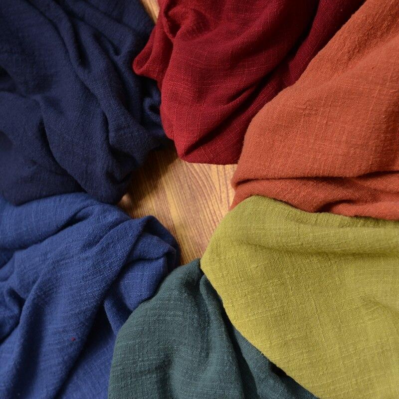 130cm x50cm thin solid color Sand washing treatment cotton linen cloth slub soft fabric diy dress robes clothing handmade 160g/m Счастье