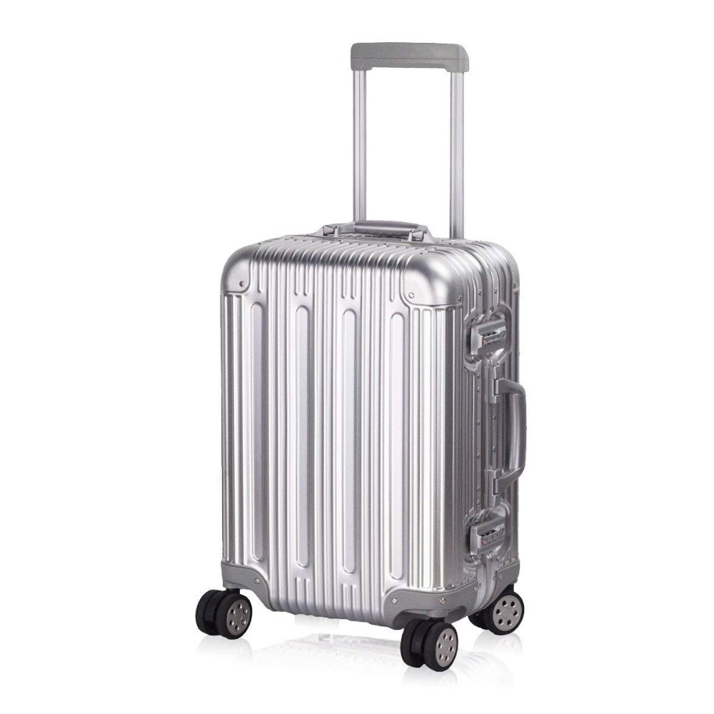 Aluminum Luggage Carry On Spinner Hard Shell Suitcase Lightweight Metal Suitcases TSA Unlock (Silver 20