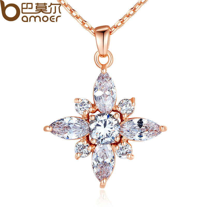 BAMOER Brand Luxury Real Rose Gold Color Necklaces with AAA White Cubic Zirconia Pendants For Women Engagement JIN036