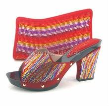 Artikel-nr. MD015-362 ROT Hohe qualität Nigeria fashion hochzeit schuhe Italienische schuhe und taschen setzen, spiel Elegante freies verschiffen
