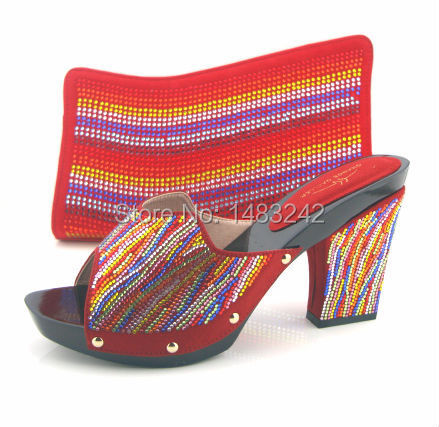 ФОТО Item No.MD015-362 RED High quality Nigeria  fashion wedding shoes  Italian shoes and bags set to match Elegant free shipping