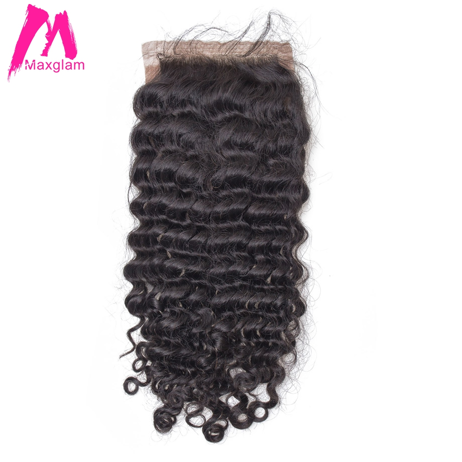 Maxglam Silk Base Closure With Baby Hair Brazilian Deep Wave Remy Human Hair Extension Free Shipping