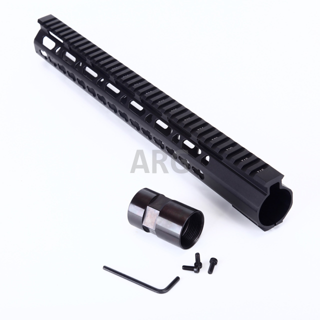 "M4 Tactical AR10 Parts 12 ""Free Float 308 Keymod Handguard Med Barrel Nut Aluminum Profile Gratis frakt"