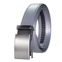 Mens High Quality Genuine Leather Belt-Ratchet Automatic Buckle Men Belt Popular Business Gray Male Belts Luxury 3.0 cm Width