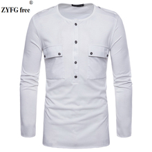 Mens casual t shirt 2018 new fashion Tops Tees pullover white color O-collar long sleeved T-shirts in spring summer EU/US size