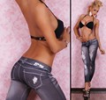 2017 Hot New Sexy thin elastic large fake hole denim Leggings stretch jeans slim hole Leguin Gaiters Boothoses Capris
