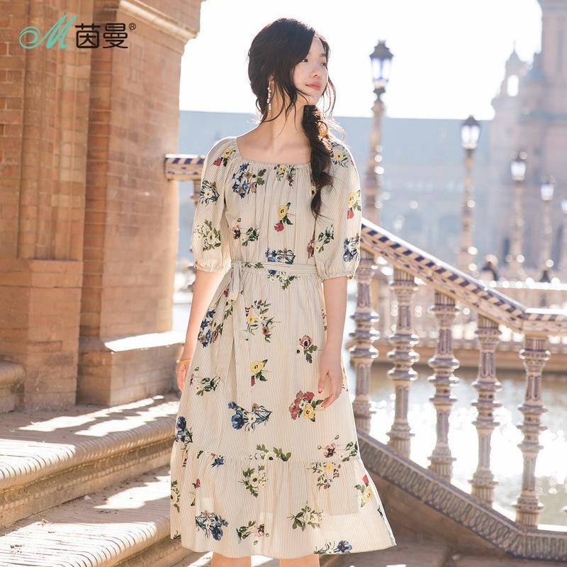 INMAN Summer Holiday Elegant Dress Romantic Style Slash Collar Women Ladies Half Sleeve Mid Calf Floral Dress