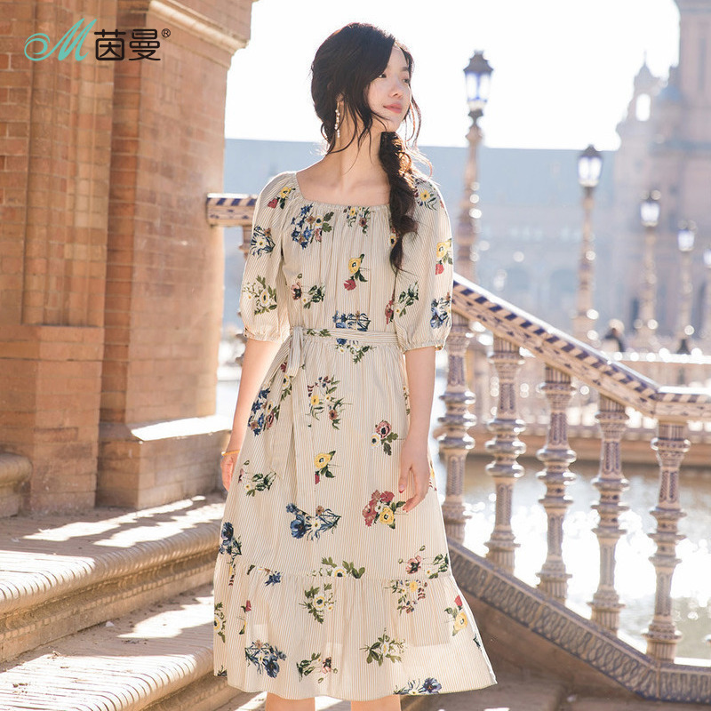 INMAN Summer Plant Patterns Elegant Dress Fresh Style Clothes For Women Belt Ladies Half Sleeve Long Dress