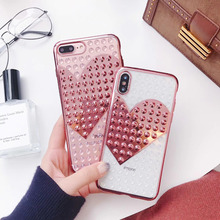 Cyato Luxury 3D LOVE heart Cases For iPhone 7 6 6S 8 Plus Soft TPU Transparent plating Rivet Case iphone X Back Cover Coque
