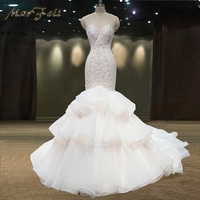 2017 New Fashion Elegant Crystal Beading A Line Wedding Dresses Matiral Mermaind Trumper Court Train Wedding