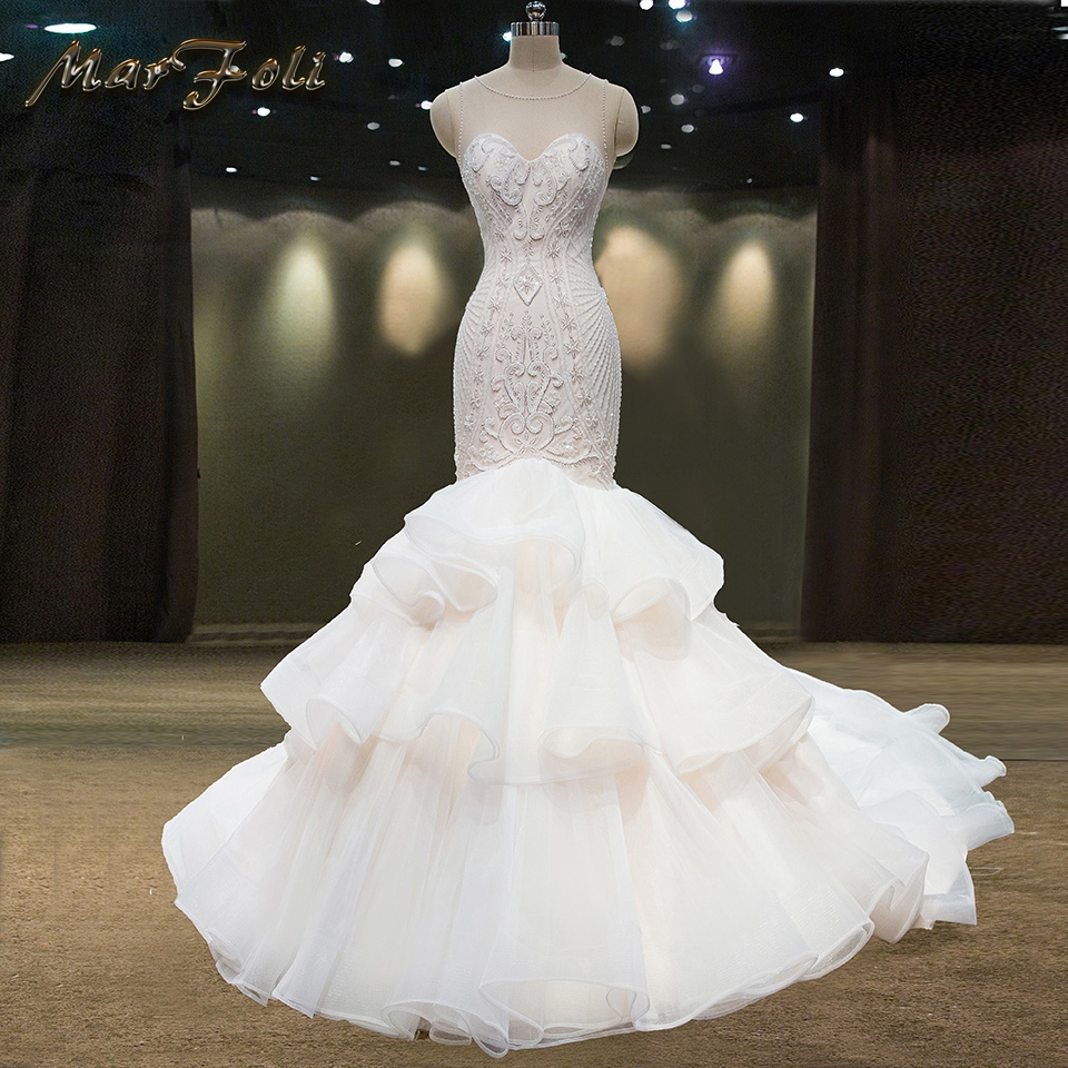 Real images New Fashion Lace beads Mermaid trumpet in stock Champagne White Wedding Dresses 2017 O-neck Bridal Gown Customize