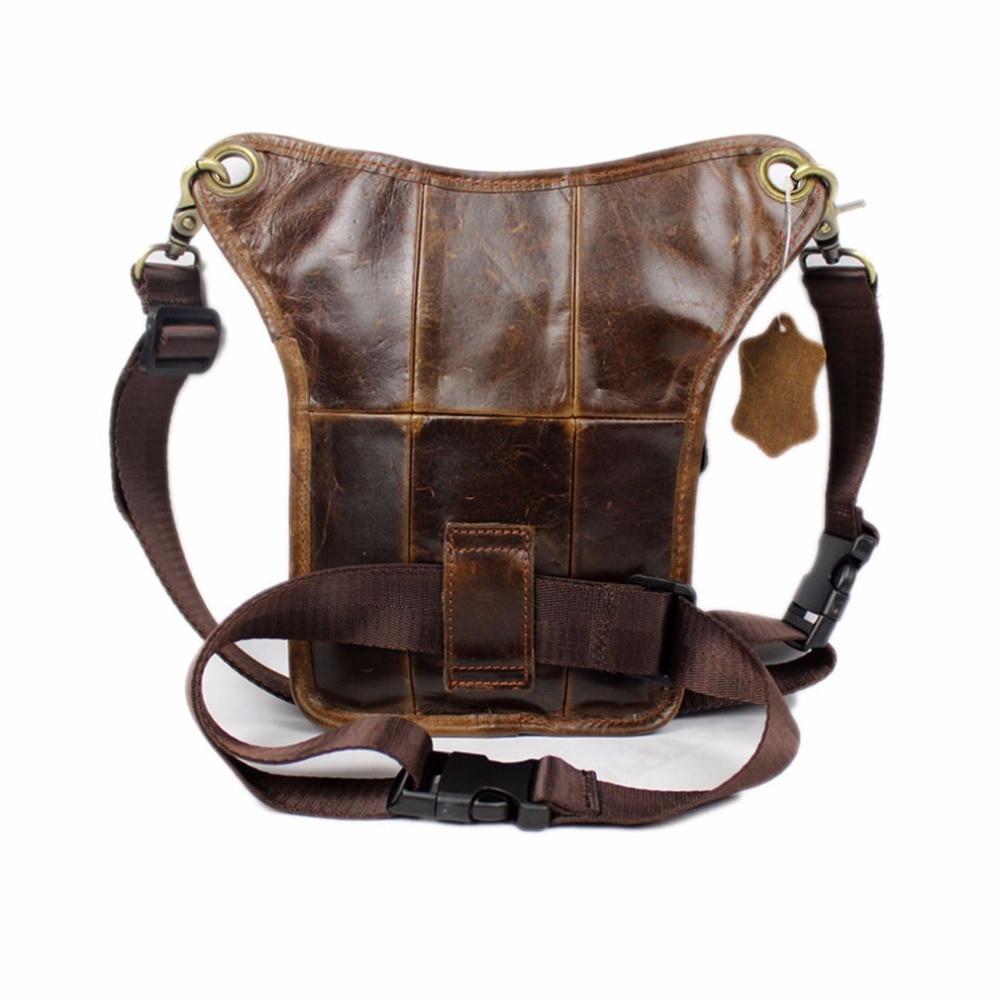 Mænds ægte læder drop ben taske cross body messenger skulder fanny - Bæltetasker - Foto 3