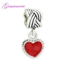 5cbb63ed9 Couple charm beads red enamel heart-shaped pendant amulet original brand  design Fit Pandora Bracelet Necklace