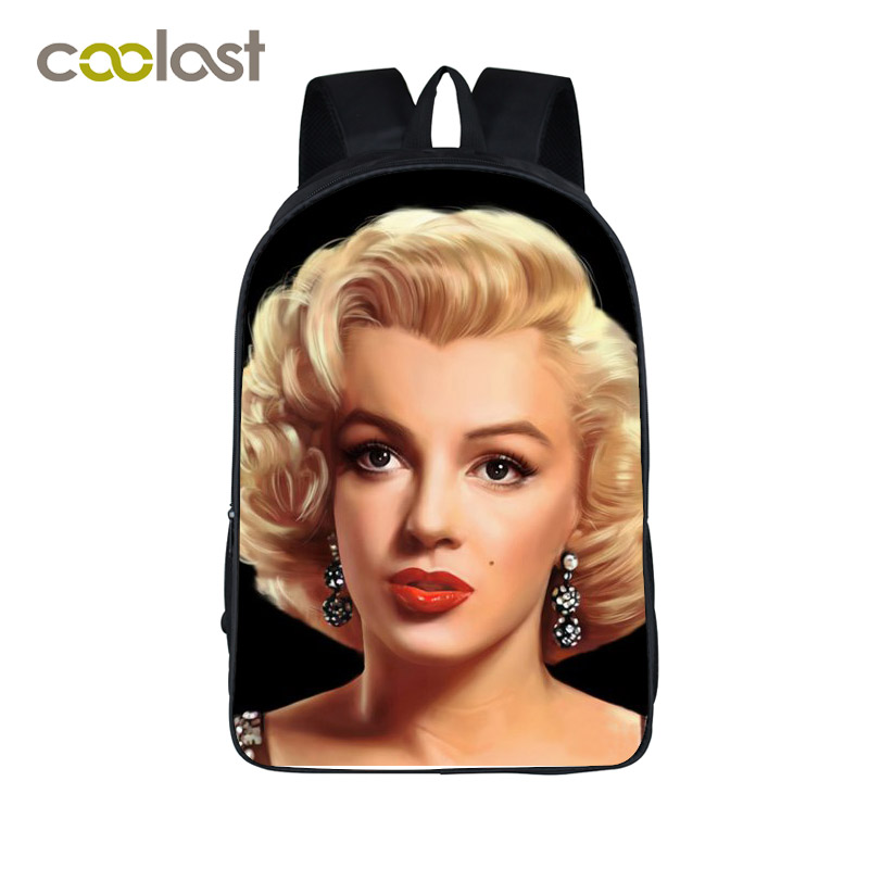 Marilyn Monroe Students Backpack Film Star Backpack For Girls Cool Monroe With Gun Women Laptop Bag School Bag Out Door Backpack
