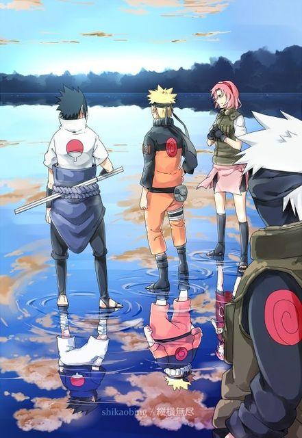 Naruto Sakura Sasuke Kakashi Team Cartoon Anime Japanese Vintage