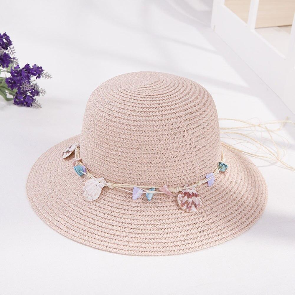 Women Straw Sun Hat Wide Brim Shell Conch Decor Bucket