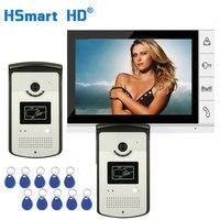 Wired 9 Color Video Door Phone Video Intercom Doorbell System 1 Monitor 2 RFID Camera Waterproof Outdoor