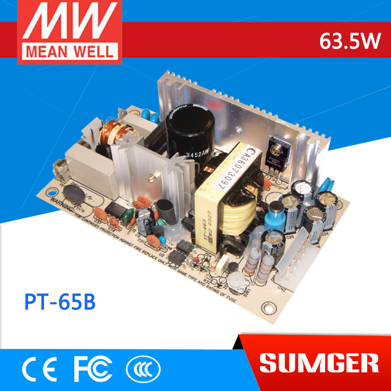 ФОТО [Freeshiping 2Pcs] MEAN WELL original PT-65B meanwell PT-65 63.5W Triple Output Switching Power Supply