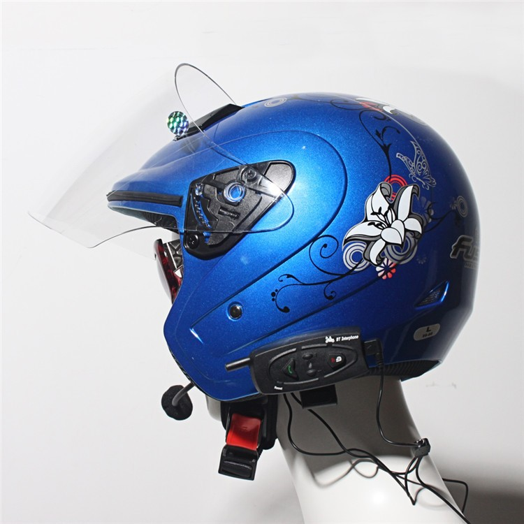 500M Wireless Bluetooth Motorcycle Helmet Intercom for 2 Riders Interphone Earphone Headset 1PcsSet (1)