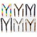 Estilo de moda niños del arco iris las ligas niños niñas niños de la escuela tirantes leopardo elástico colorido de la estrella tirantes