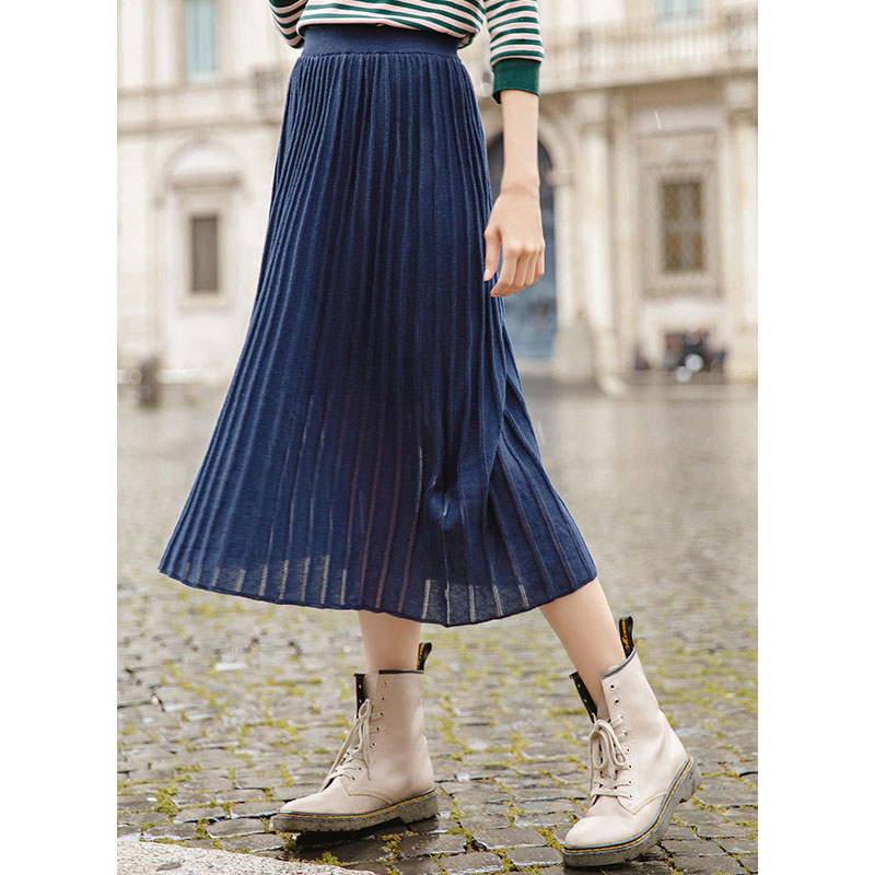 INMAN 2019 Spring Solid Color Causal Retro Style Elastic Pleated Women Mid Calf Skirt
