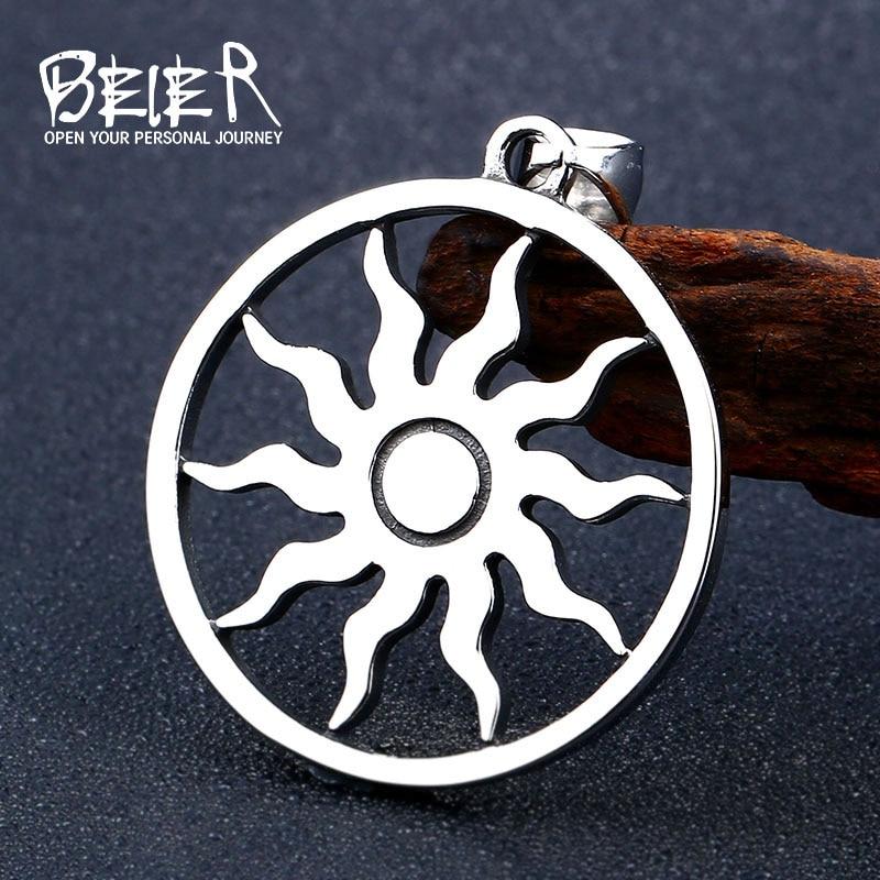 Beier 316L stainless Norse Vikings Pendant Necklace sun Amulet Pagan Solar  Symbol Slavic Amulet Men fashion Jewelry LP300
