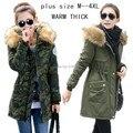 Новый 2015 теплая Зима Куртка женщин случайные Куртка С Капюшоном хлопка-ватник толстые куртки мех Вниз и Парки женщина плюс размер М-4XL