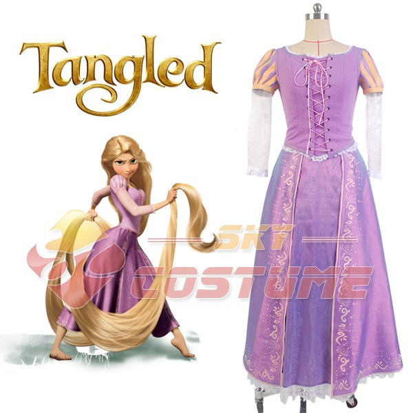 Girls Tangled Princess Rapunzel Dress Christmas Halloween Cosplay Costume For Women