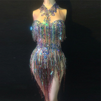 Sparkly Colorful Tassel Bodysuit Nightclub Female Singer DJ Dance Party Costume Stage Celebrate Women'S Leotard Outfit DL3444 1