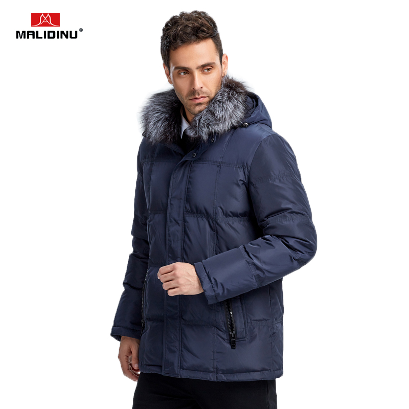 MALIDINU 2019 Men Down Coat Winter Warm Down Jacket Mens Winter Parkas Real Fox Fur 70% White Down Down Big Size For Men -30C