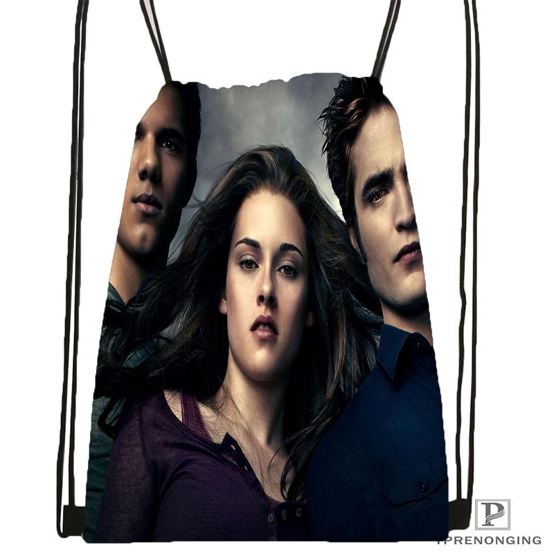 Custom Twilight Saga Breaking Dawn Drawstring Backpack Bag Cute Daypack Kids Satchel (Black Back) 31x40cm#180531-03-08