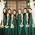 2017  Dark Green  Bridesmaid Dresses Satin Wedding Party Gowns Elegant bridesmaid dresses Chiffon bridesmaid dresses fuchsia