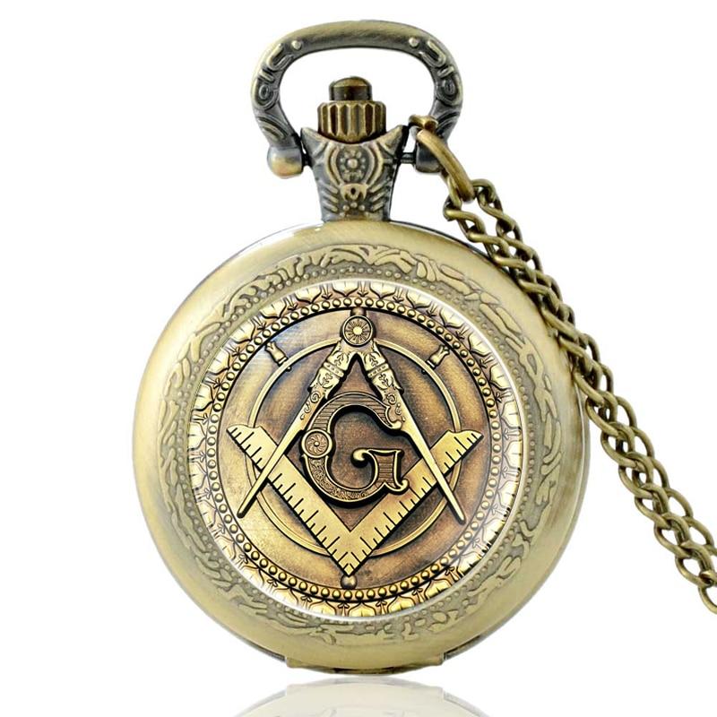 Retro Bronze Masonic Quartz Pocket Watch Vintage Men Women Pendant Necklace Antique Jewelry
