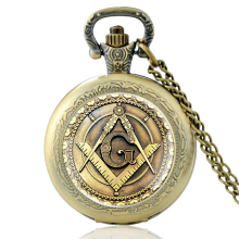 Retro Bronze Masonic Quartz Pocket Watch Vintage Men Women Pendant Necklace Antique Jewelry vintage pocket watch antique quartz modern retro web pattern ball shape with wing full hunter men chain women necklace pendant