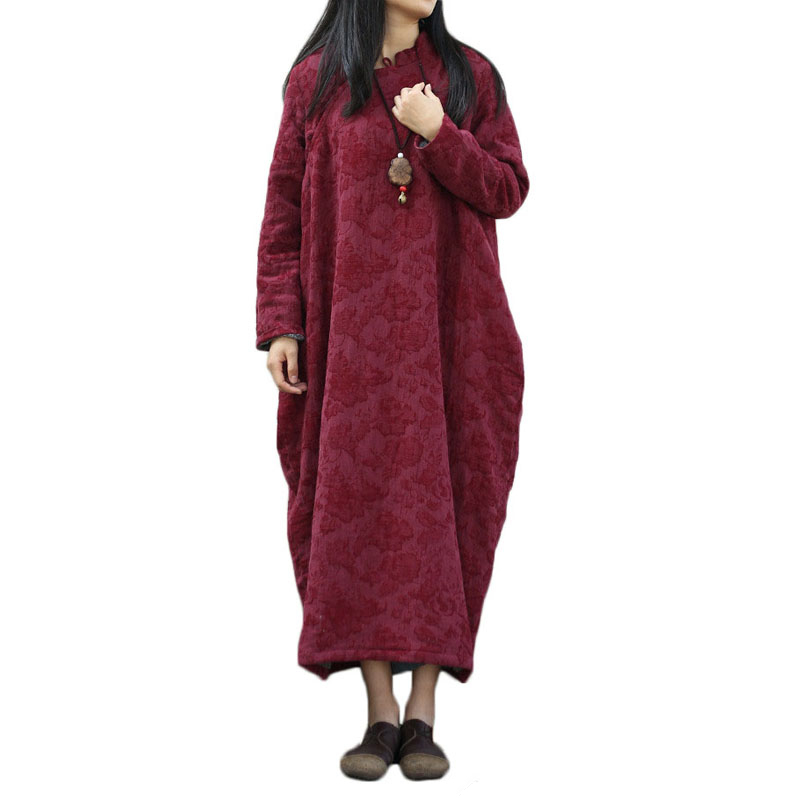 Women Thick Dress Vintage Long Cotton Padded Maxi Dresses Plus Size Vestidos Chinese Robe Feminina Winter Dress