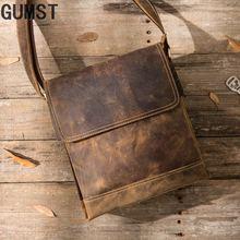 Genuine Crazy Horse Leather Original Handmade Men Messenger Bag Vintage