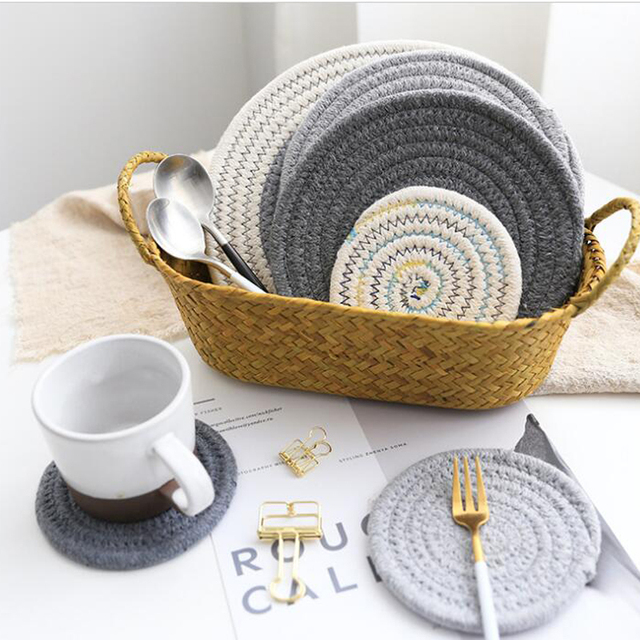 Artificial Handmade Weaving Placemat Anese Style Cotton Thread Dining Room Table Dish Cup Teapot Natural Clical