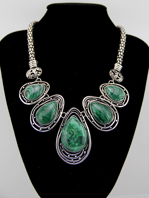 Hot tibetan silver malachite tribal bib choker chunky statement necklaces pendant for woman jewelry