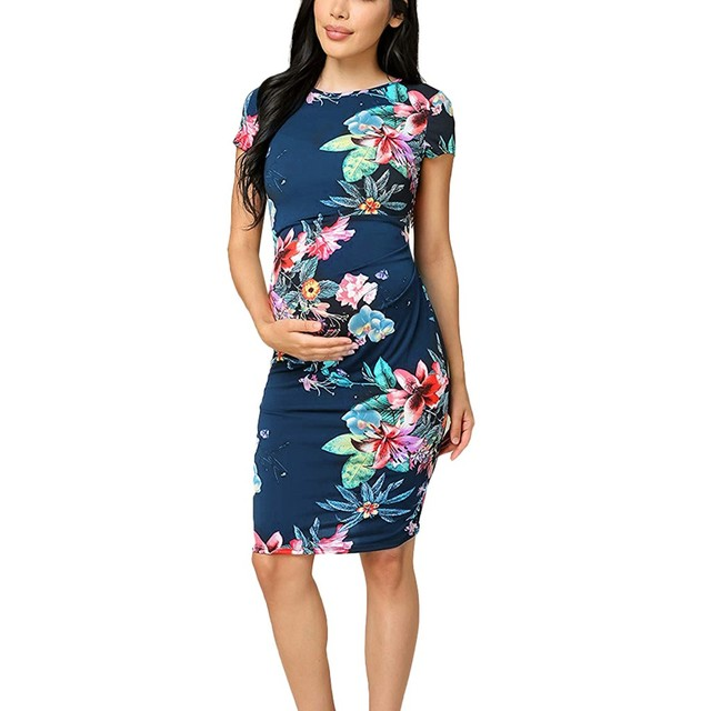 e00475574b 2019 New Fashion Pregnant Women Short Sleeve Maternity Dresses Casual Floral  Print Sundress Sexy Summer Beach Dress Jolie Robe