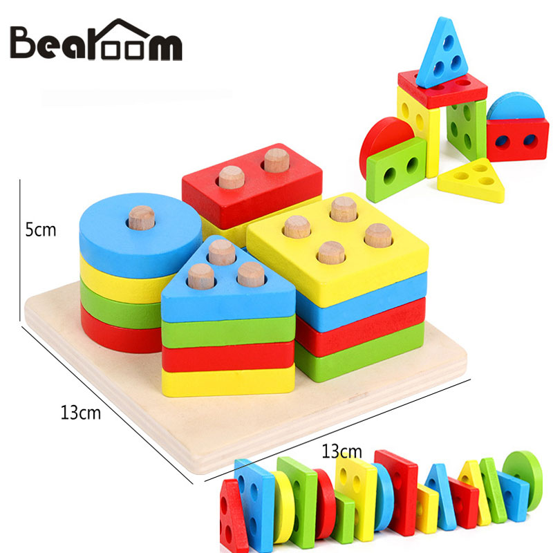 Bearoom Learning Education Puzzle Wooden Montessori Toys For Children 3d Geometry Jigsaw Toy Baby Sensory Cognition Resources rome arch bridge puzzle education science mechanics diy toy for kid montessori learning education building blocks for children