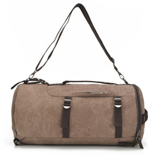 Mens large-capacity travel cylinder bag fashion multi-functional canvas double shoulder bucket
