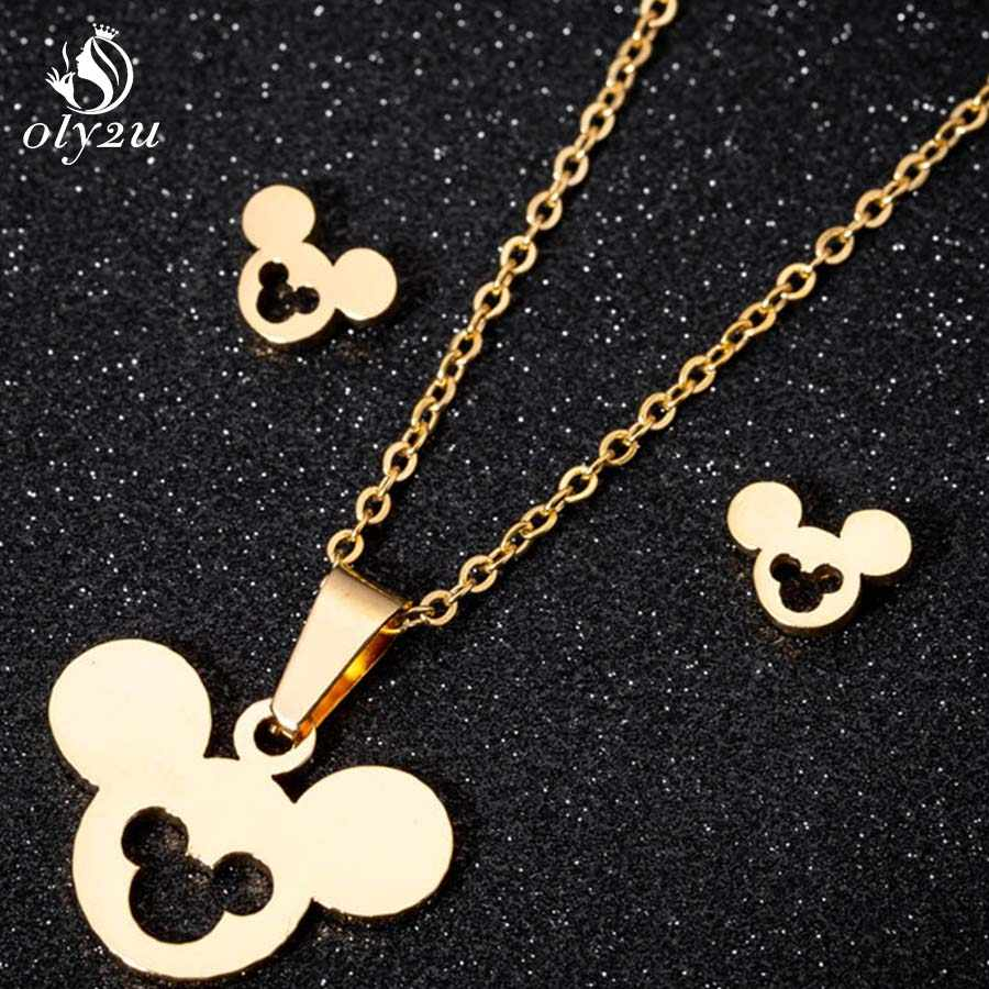 Oly2u Gold Mouse Mickey Pendant Necklace Stud Earrings Jewelry Sets for Women Stainless Steel Long Chain Choker Earrings brincos